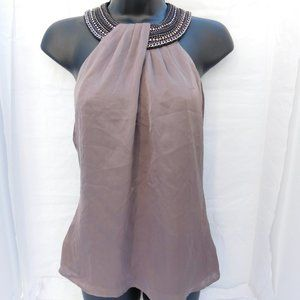 BEBE TAUPE SILK HALTER TOP SMALL